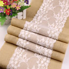 5pcs Rustic Burlap Lace Hessian Table Runner Wedding Banquet Party Table Decor