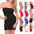 Womens Ladies BoobTube Bandeau Sleeveless Stretchy Short Bodycon Top Mini Dress
