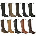 WOMENS LADIES BLOCK MID HIGH HEEL RIDING BOOTS CALF KNEE HIGH WINTER SHOES SIZE