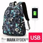 Laptop Backpack with USB Charge Port Student College School Nylon Bag Schoolbag