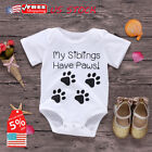 Newborn Baby Boy Girl Dog Footprints Short Sleeve Jumpsuit Romper Outfit Clothes