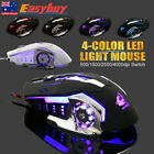 New 4000DPI Optical Wired LED Light Usb Ergonomic Gamer Gaming Mouse Metal Plate