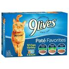 9 Lives Pate Favorites Variety Pack Canned Cat Food, Pack of