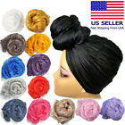Stretch Long Black Head Wrap African Hair Head Scarf Tie,Multi Color 1pcs