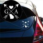 Georgia Love Cross Arrow State GA Decal Sticker for Car Window, Laptop # 1075