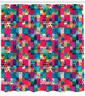 Colorful Shapes Pattern Shower Curtain Fabric Decor Set with Hooks 4 Sizes