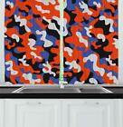"Camouflage Kitchen Curtains 2 Panel Set Window Drapes 55"" X 39"" by Ambesonne"