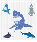 Aquatic Ocean Shower Curtain Geometry Decor Set with Hooks 4 Sizes Ambesonne