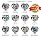 Authentic Pandora Signature Heart Openwork BIRTHSTONE CHARM Beads - CHOOSE MONTH