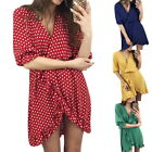 Femmes Loose Ruffle Hem Beach Robes Strap V-neck Polka Dots Party Mini Sun Dress