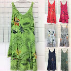 Uk Women Holiday Sleeveless Boho Mini Dress Ladies Summer Casual Blouse Top Size