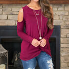 US Womens Cold Shoulder Pearls Long Sleeve Tops Blouse Ladies Casual T Shirt Tee