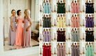 New Chiffon Bridesmaid Maxi A-line Dress Diamante Wedding Party Prom Gown Lot UK