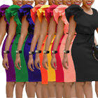 Women Ladies Fashion Ruffled Bodycon Clubwear Cocktail Party Package Hip Dress