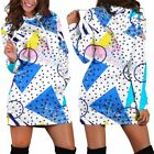 80s Pattern Fashion Kawaii Women Teen Long Sleeves Hoodie Dress Hooded Tunic