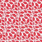 Printed Polyester Cotton Fabric - Christmas Holly Leaf- Red - 877