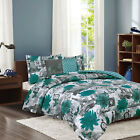 Paris Bedding Twin or Full/Queen Comforter Bed Set Eiffel Tower Teal Blue Flower image