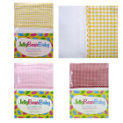 3 Pce Jelly Bean Baby Cot Poly Cotton Sheet Set Featuring Gingham Cuff