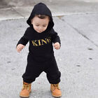 "Newborn Baby Boys ""KING"" Hoodie Romper Jumpsuit Bodysuit Playsuit Clothes Outfit"