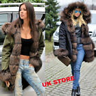 Roiii Ladies Fur Lining Coat Womens Warm Winter Jacket Hooded Parka Outwear 8-20