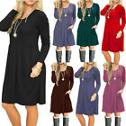 Womens Casual Swing T Shirt Dress Long Sleeve Pocket Loose Tunic Short Dress US