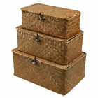Handmade Seagrass Woven Storage Box Seaweed Basket with Lid Towel Container