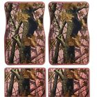 Universal set (4pcs) car floor mats rubber with nice pink camouflage tree design