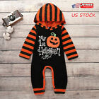Newborn Baby Girl Boy Striped Pumpkin Jumpsuit Bodysuit Hall