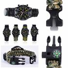 Outdoor Military Bracelet Survival Sport Flint Paracord Thermometer Wrist Watch
