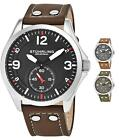 Stuhrling 684 Japan Quartz Stainless Steel.Watch Leather Contrast Stitching Band