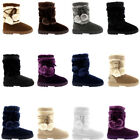 Ladies Pom Pom Short Fur Lined Winter Snow Casual Warm Ankle Boots All Sizes