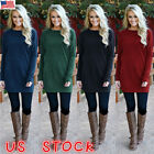 Plus Size Women Long Sleeve Knitted Ladies Sweatshirt Mini Dress Pullover Tops