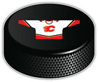 "Calgary Flames White Shirt NHL Logo Hockey Puck Bumper Sticker - 9'',12"" or 14'' $11.99 USD on eBay"
