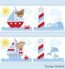 Внешний вид - Nautical Sailboat Nursery Wallpaper Border Boy Wall Art Decals Kids Sailing Room