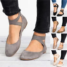 Women Ballet Ballerina Dance Shoes Ankle Strap Slip On Flat