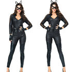 Women Cat Leather Black Catwoman Halloween Christmas Carnival Adult Costume YH