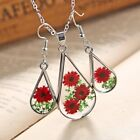 Natural Real Dried Flower Glass Necklace Earrings Women Wedd