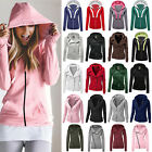 Womens Long Sleeve Hoodie Sweatshirt Jumper Warm Pullover Zi