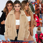UK Womens Oversized Teddy Bear Coat Ladies Faux Fur Borg Zip Jacket Size 8 - 22