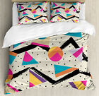 Indie Duvet Cover Set with Pillow Shams 80s Funky Memphis Fashion Print
