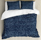 Navy and Teal Duvet Cover Set with Pillow Shams Abstract Flourish Print