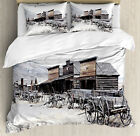 Western Duvet Cover Set with Pillow Shams Old Wooden 20s Town Print