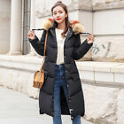 Women Down Cotton Fur Collar Coat Quilted Jacket padded bubble long parka Trench