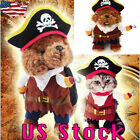 US Pet Dog Cat Halloween Pirate Captain Costume Fancy Dress Outfit Clothe Gift