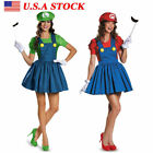 Women's Super Mario AND Luigi Workmen Skirt Version Adult Co