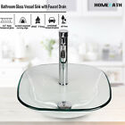 Bathroom Tempered Glass Vessel Sink Faucet Pop-up Drain Combo Countertop Bowl