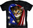 The Mountain Men's Patriotic Kitten Flag T-Shirt Officially Licensed S-5XL
