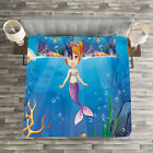 Colorful Quilted Bedspread & Pillow Shams Set, Cartoon Mermaid Fish Print image