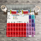 Periodic Table Quilted Bedspread & Pillow Shams Set, Classical Vivid Print image