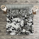 Camouflage Quilted Bedspread & Pillow Shams Set, Camouflage Concept Print